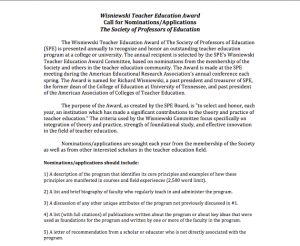 Wisniewski Teacher Education Award